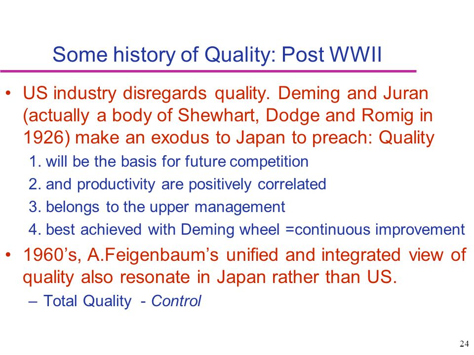 Some history of Quality: Post WWII