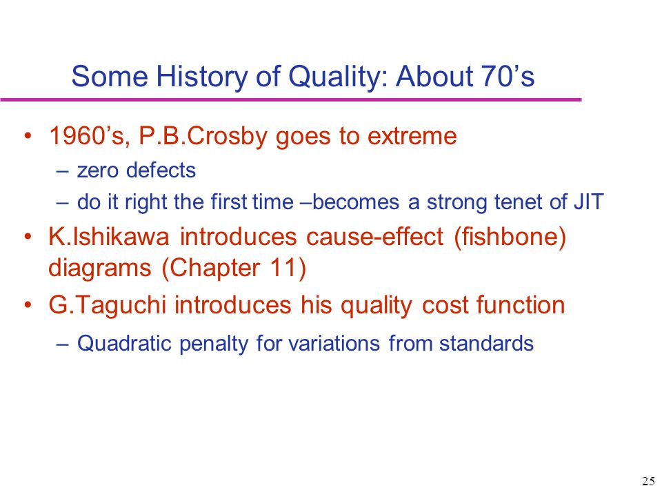 Some History of Quality: About 70's