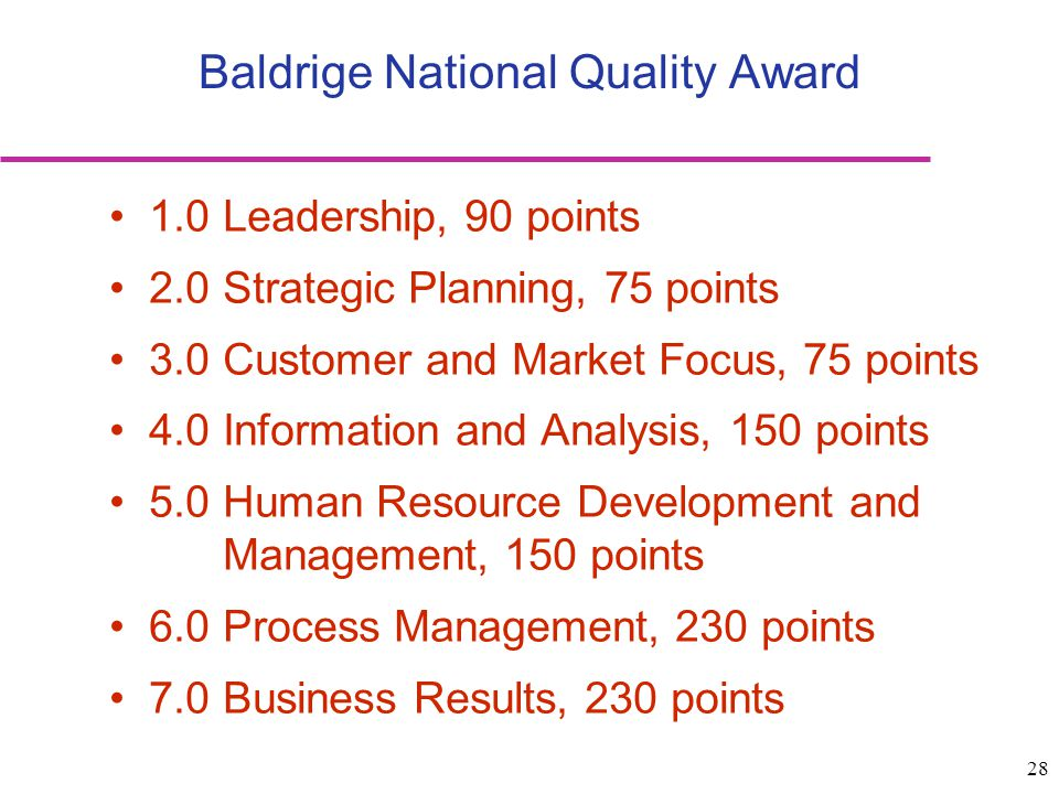 Baldrige National Quality Award
