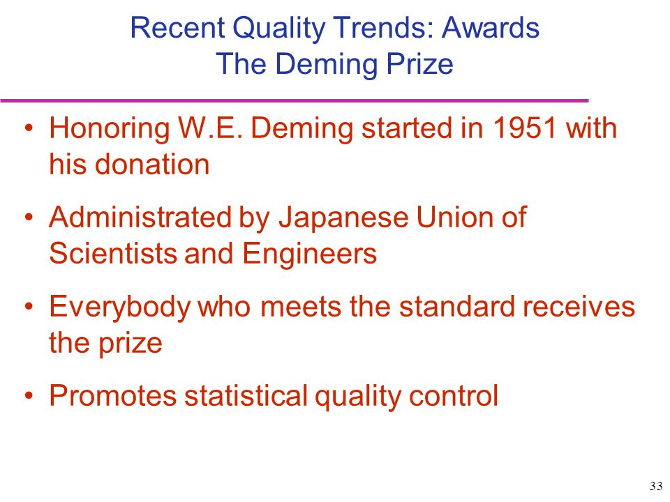 Recent Quality Trends: Awards The Deming Prize