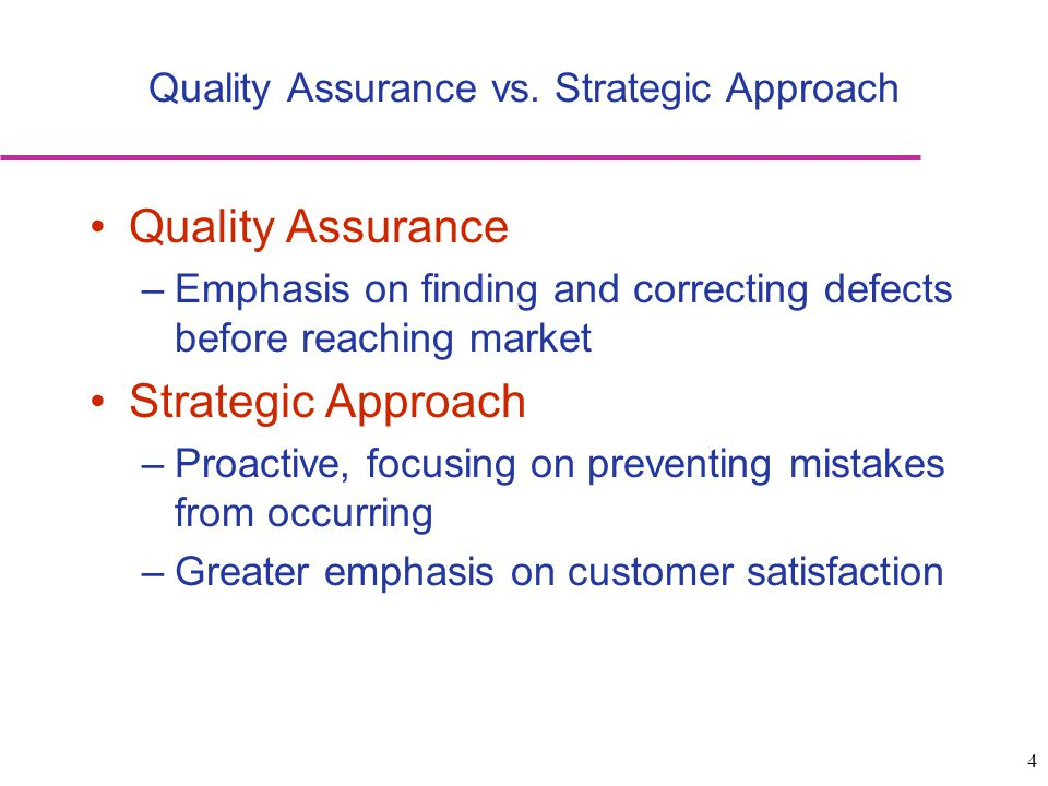 Quality Assurance vs. Strategic Approach