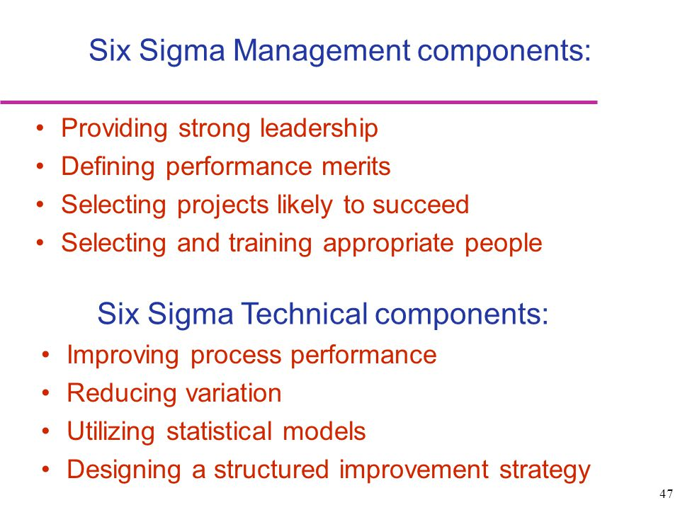 Six Sigma Management components: