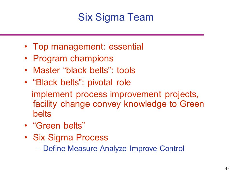 Six Sigma Team Top management: essential Program champions