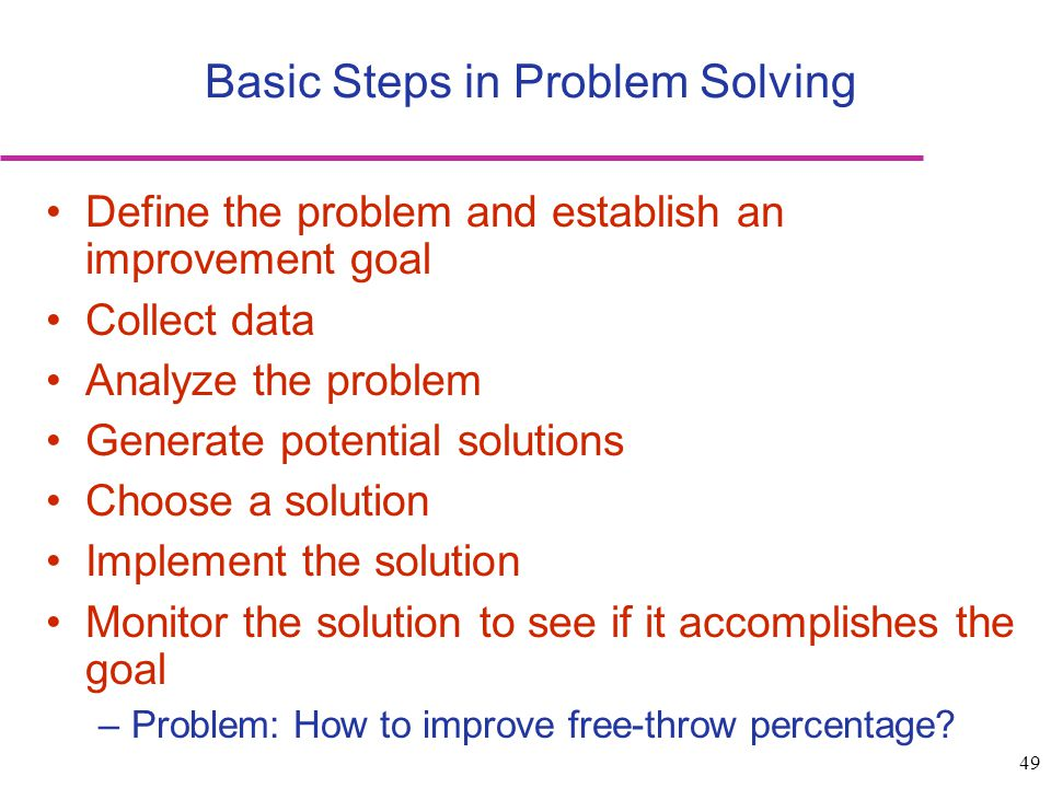 Basic Steps in Problem Solving