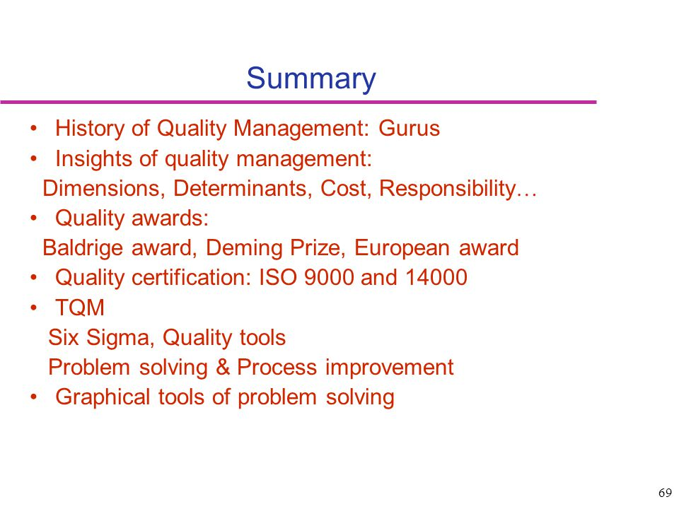 Summary History of Quality Management: Gurus