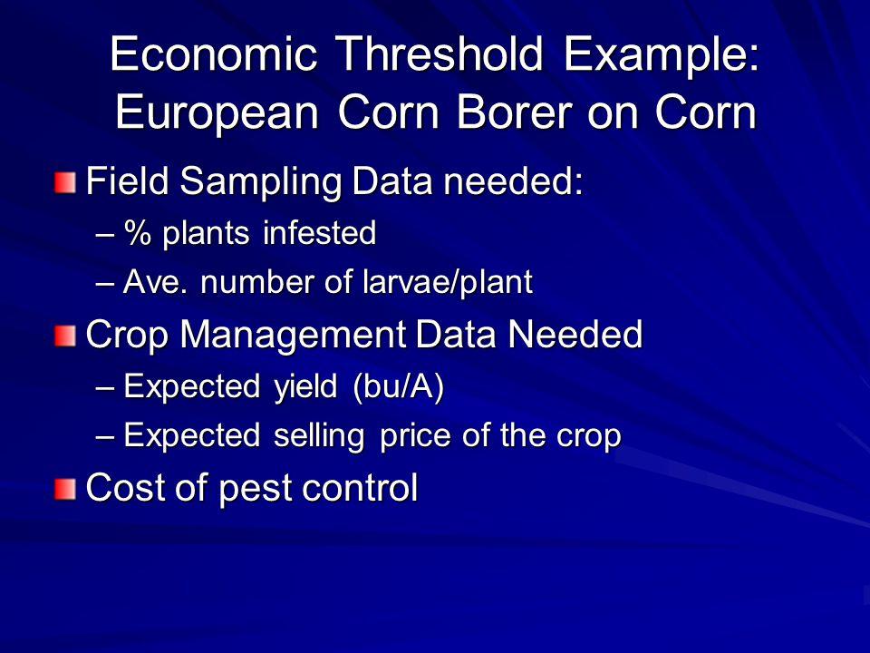 Economic Threshold Example: European Corn Borer on Corn