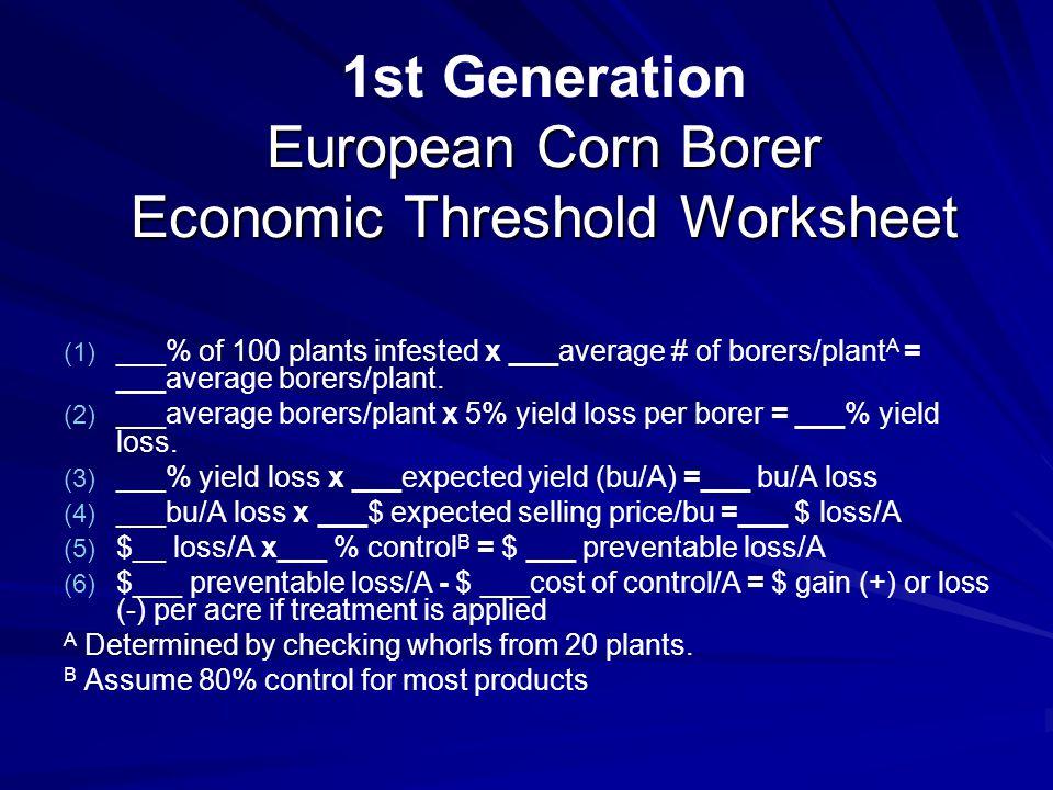 1st Generation European Corn Borer Economic Threshold Worksheet