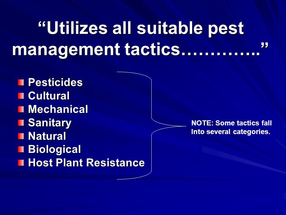 Utilizes all suitable pest management tactics…………..