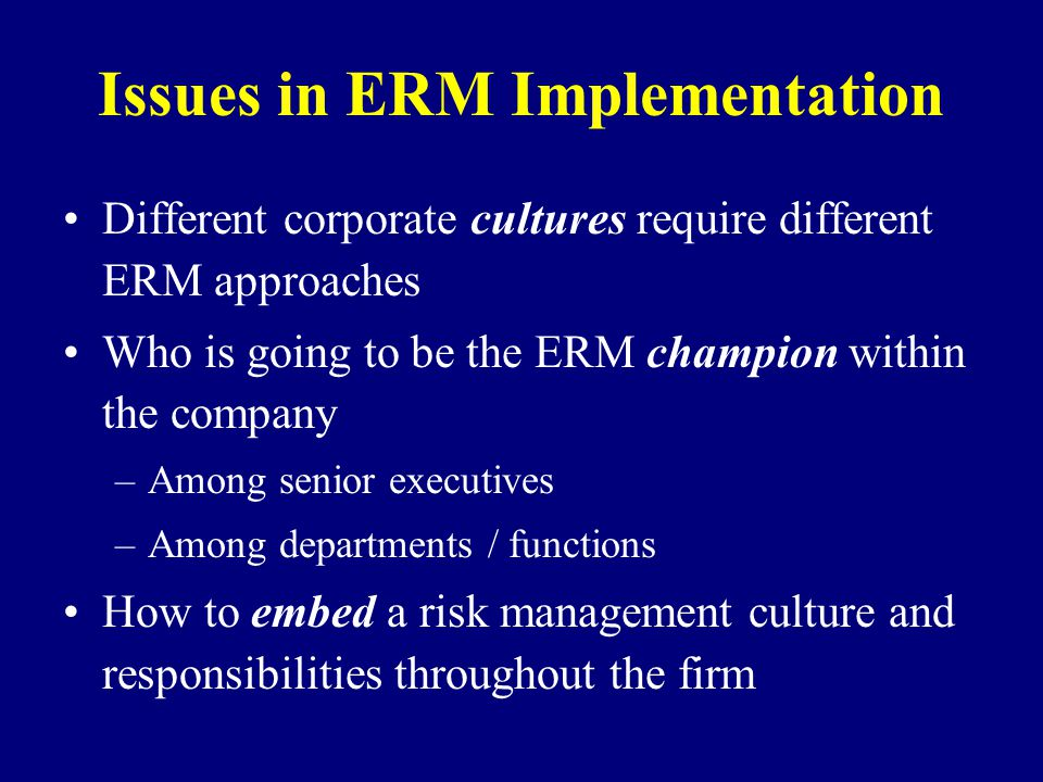 Issues in ERM Implementation