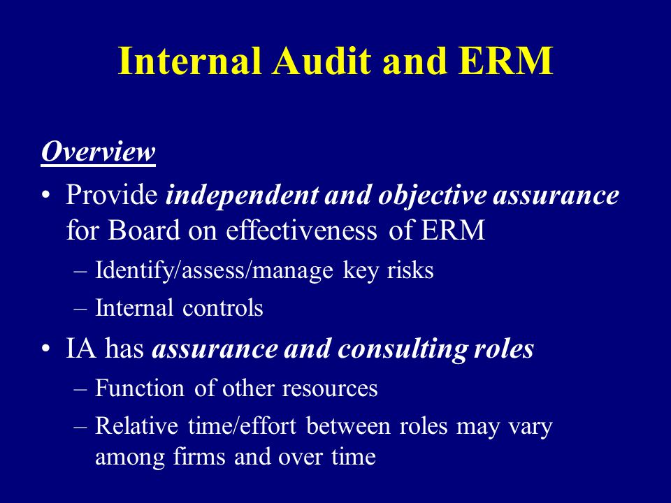Internal Audit and ERM Overview