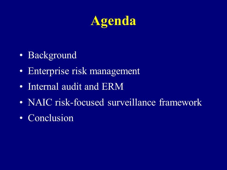 Agenda Background Enterprise risk management Internal audit and ERM