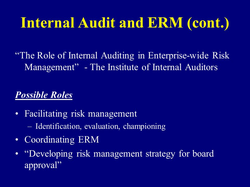 Internal Audit and ERM (cont.)