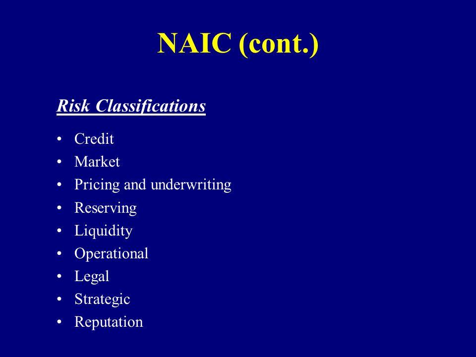 NAIC (cont.) Risk Classifications Credit Market