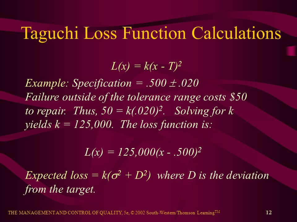 Taguchi Loss Function Calculations
