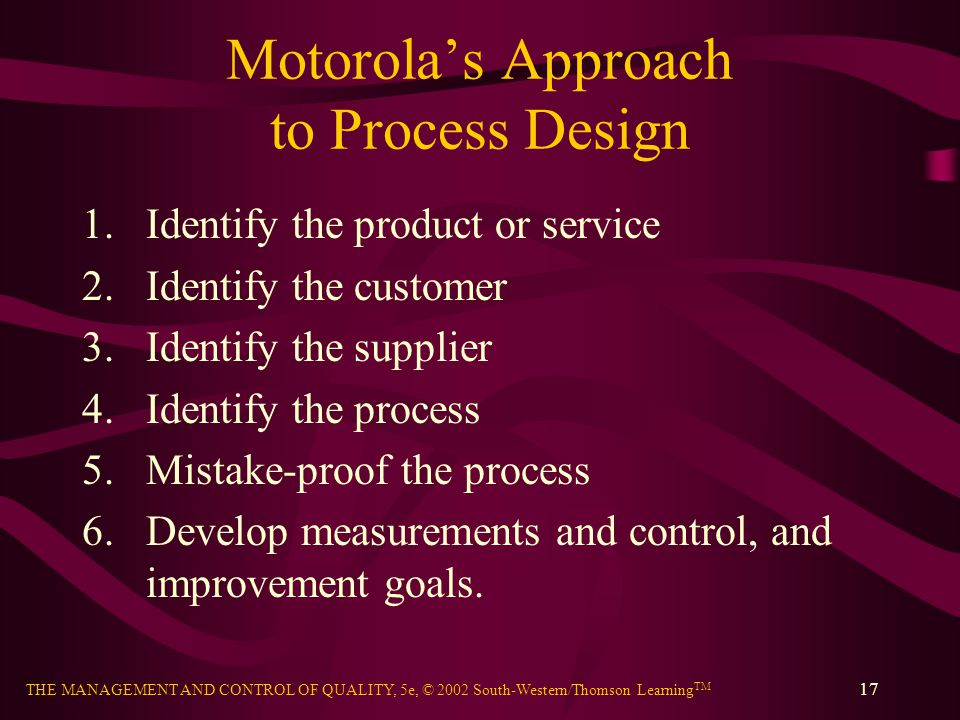 Motorola's Approach to Process Design