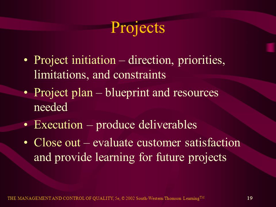 Projects Project initiation – direction, priorities, limitations, and constraints. Project plan – blueprint and resources needed.