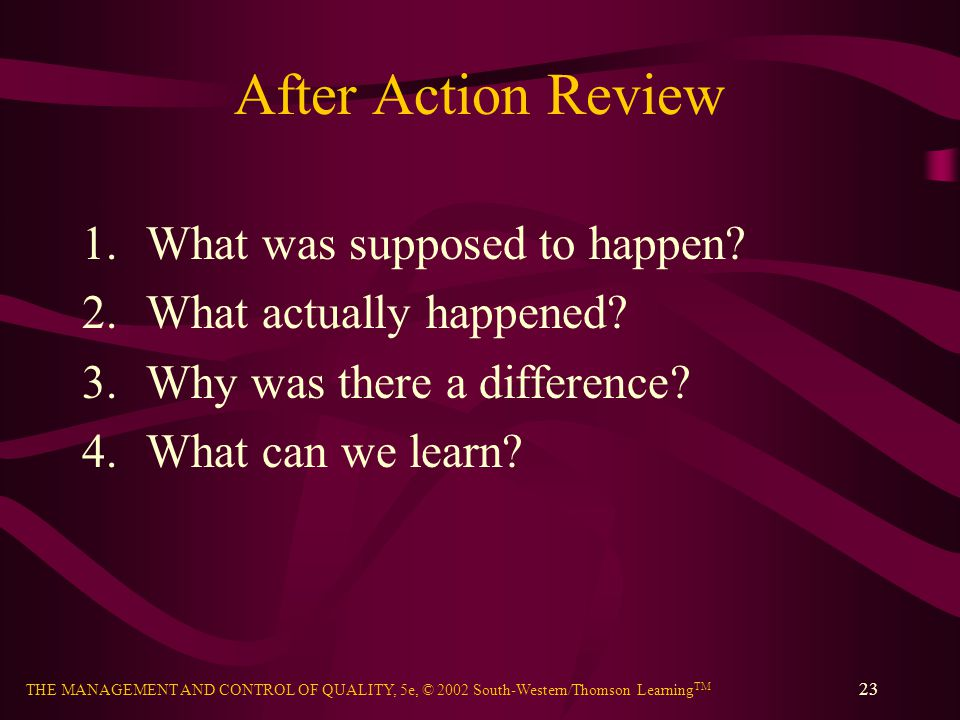 After Action Review What was supposed to happen