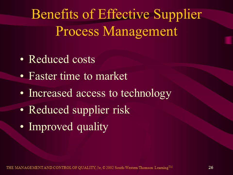 Benefits of Effective Supplier Process Management