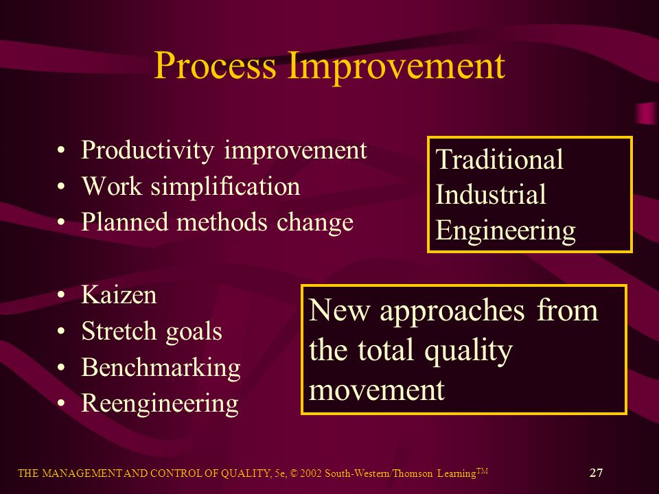Process Improvement New approaches from the total quality movement