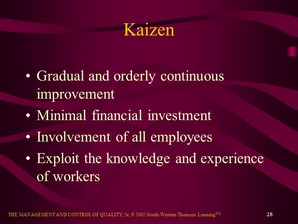 Kaizen Gradual and orderly continuous improvement