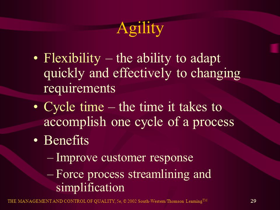 Agility Flexibility – the ability to adapt quickly and effectively to changing requirements.