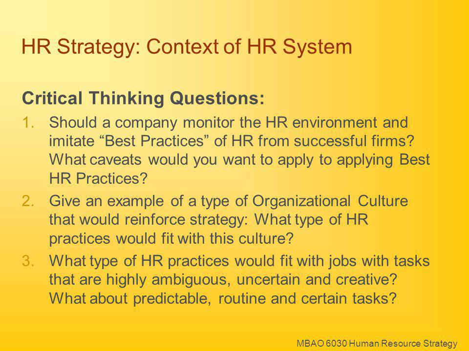 HR Strategy: Context of HR System
