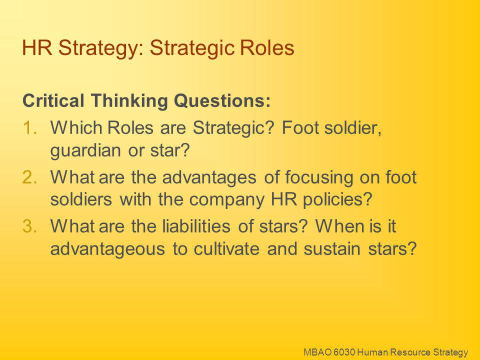 HR Strategy: Strategic Roles