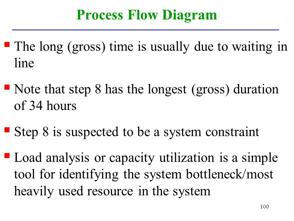 Process Flow Diagram The long (gross) time is usually due to waiting in line. Note that step 8 has the longest (gross) duration of 34 hours.