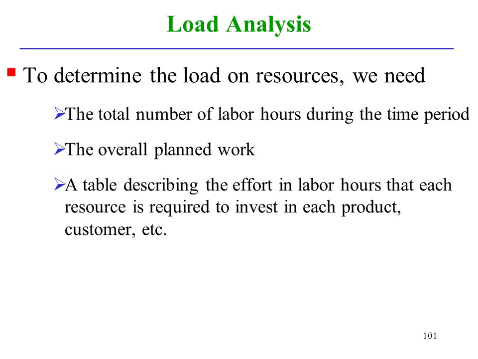 Load Analysis To determine the load on resources, we need