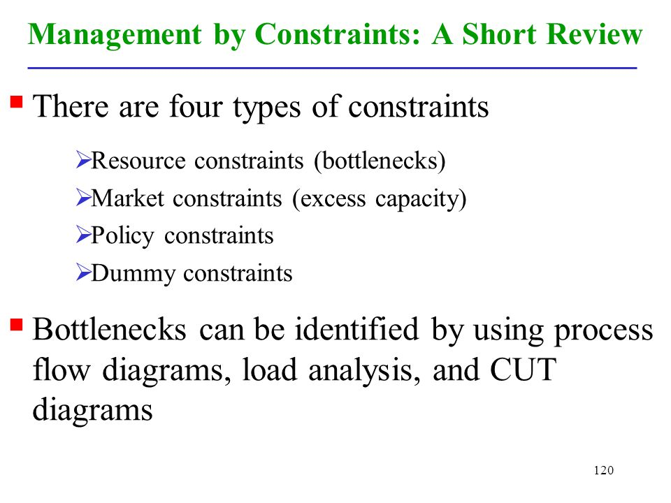 Management by Constraints: A Short Review