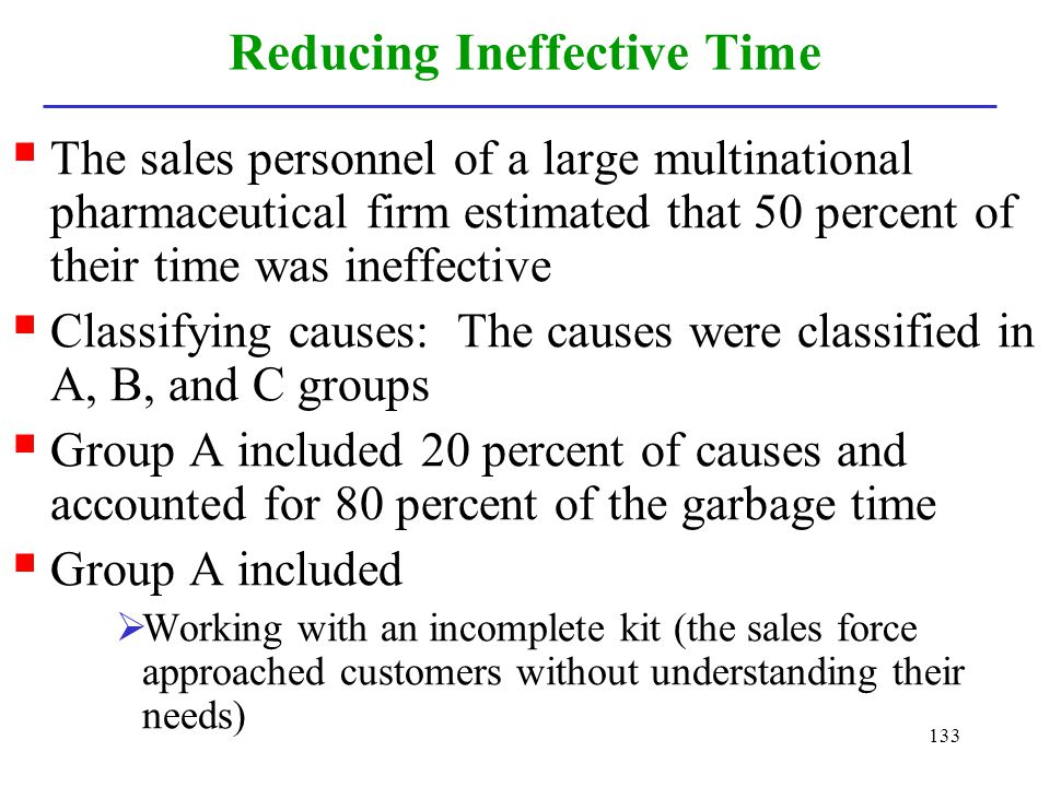 Reducing Ineffective Time