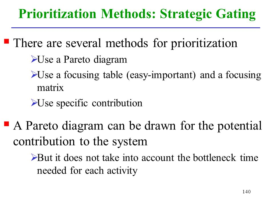 Prioritization Methods: Strategic Gating