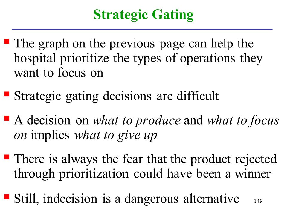 Strategic Gating The graph on the previous page can help the hospital prioritize the types of operations they want to focus on.