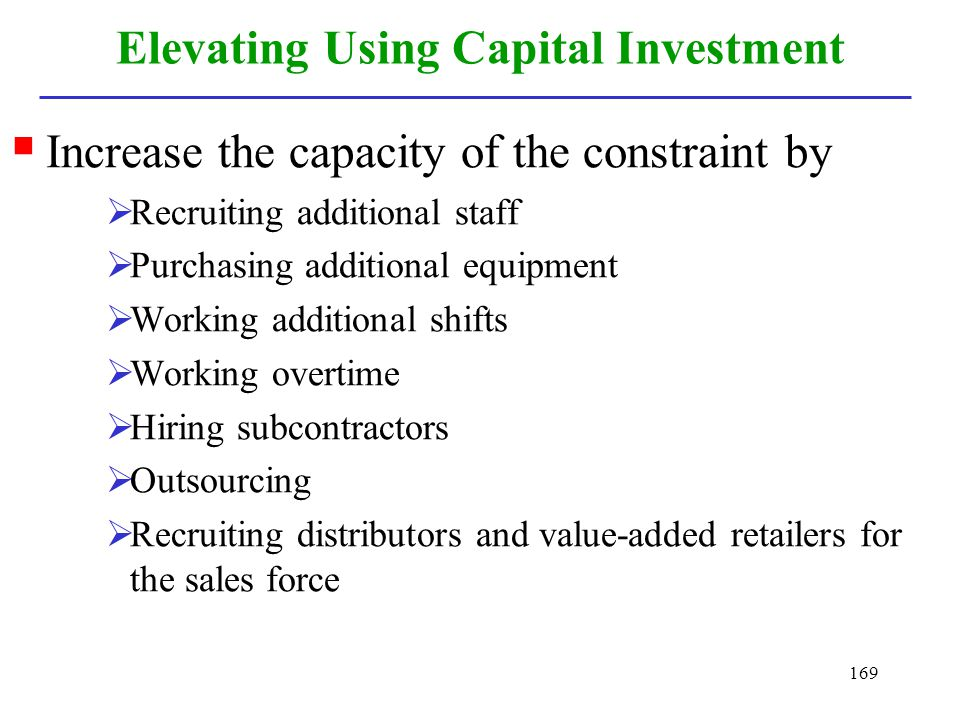 Elevating Using Capital Investment