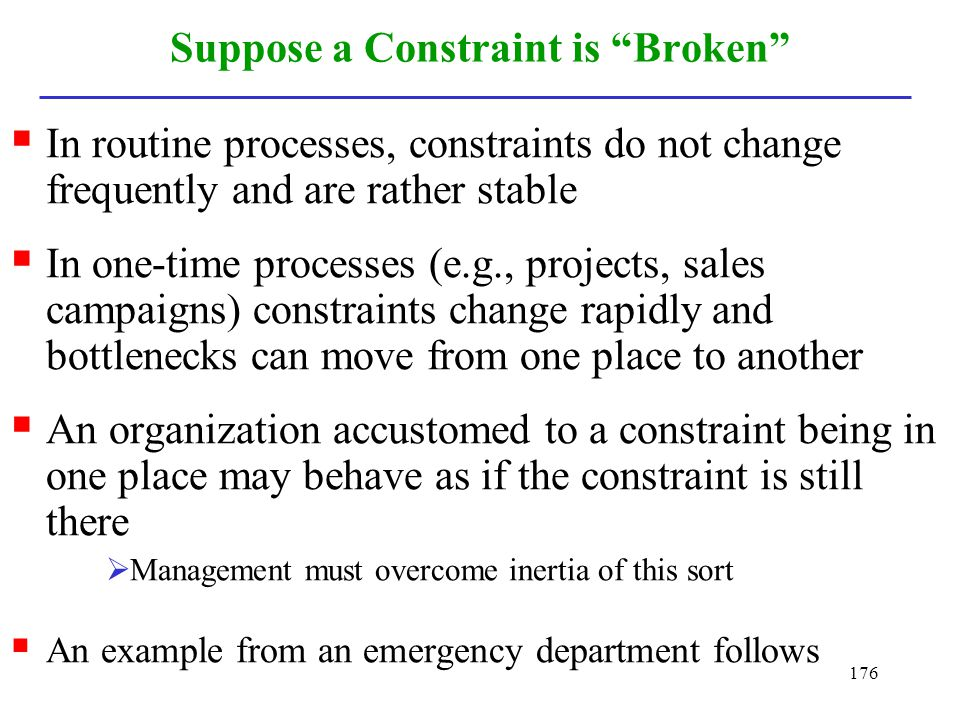 Suppose a Constraint is Broken