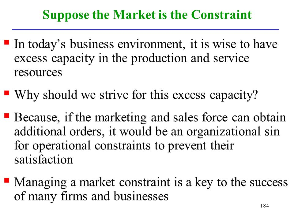 Suppose the Market is the Constraint