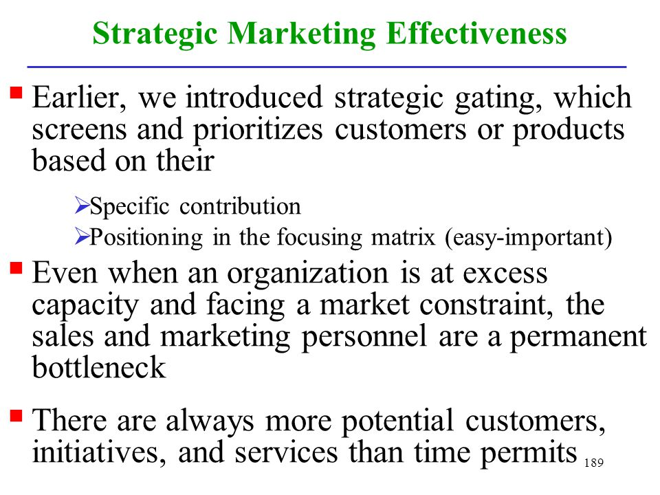 Strategic Marketing Effectiveness