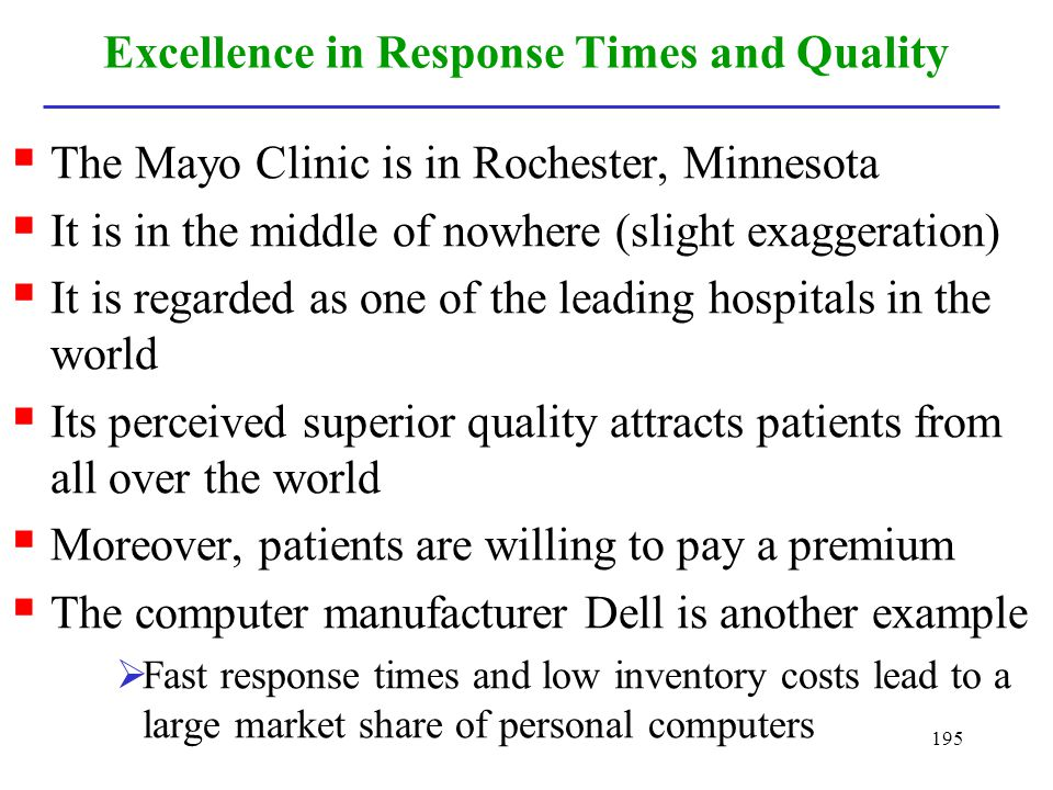 Excellence in Response Times and Quality
