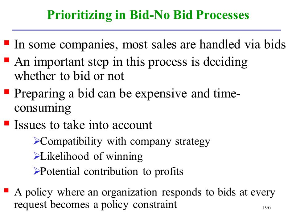 Prioritizing in Bid-No Bid Processes