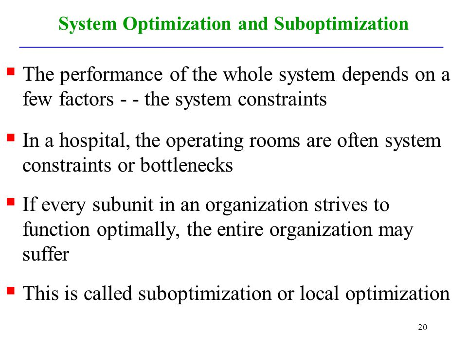 System Optimization and Suboptimization