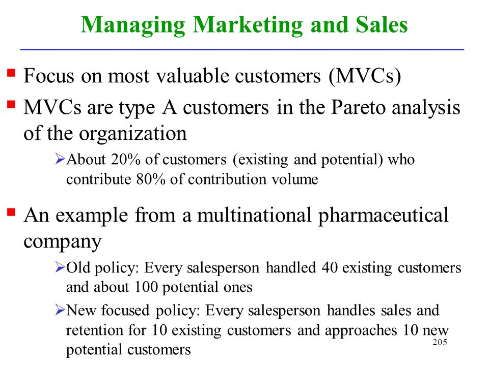 Managing Marketing and Sales