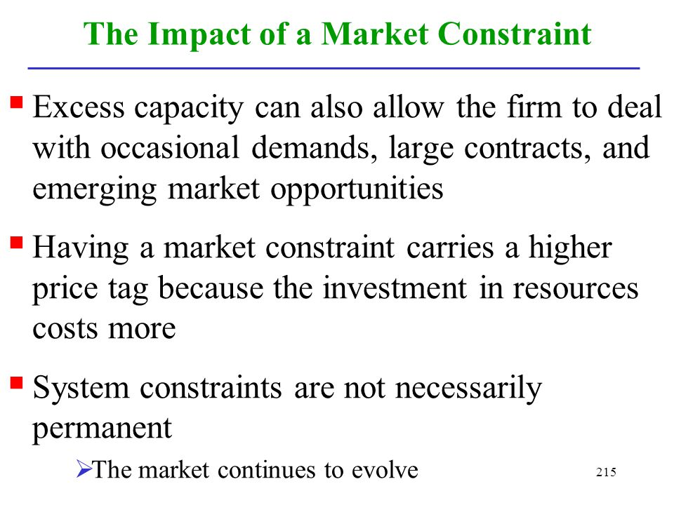 The Impact of a Market Constraint