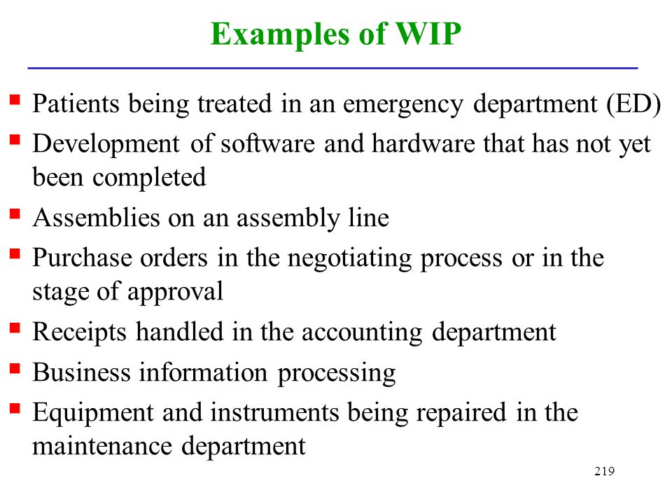 Examples of WIP Patients being treated in an emergency department (ED)