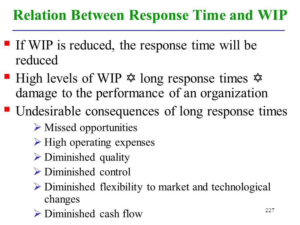 Relation Between Response Time and WIP