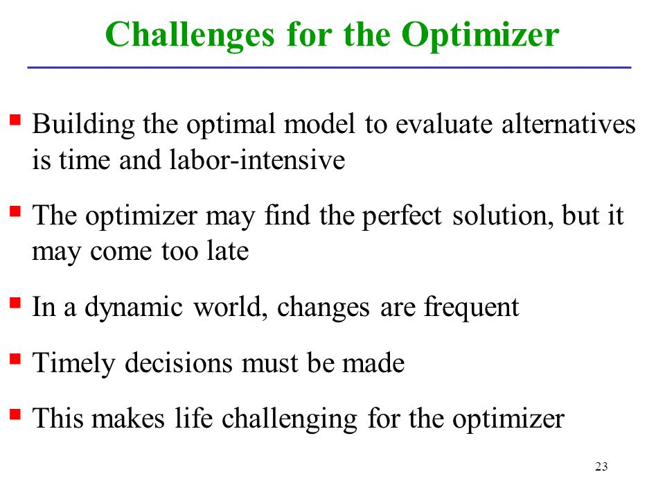 Challenges for the Optimizer