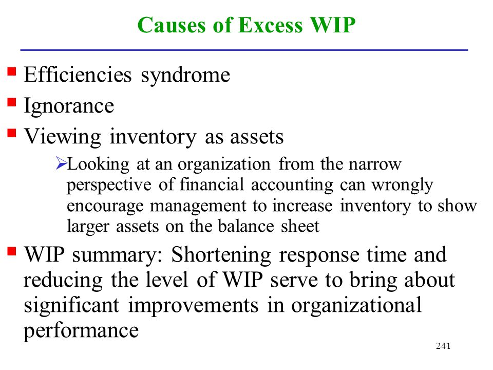 Efficiencies syndrome Ignorance Viewing inventory as assets
