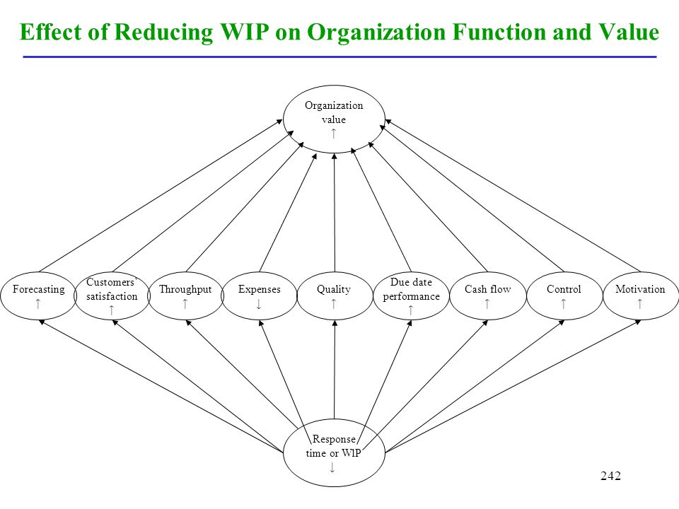 Effect of Reducing WIP on Organization Function and Value