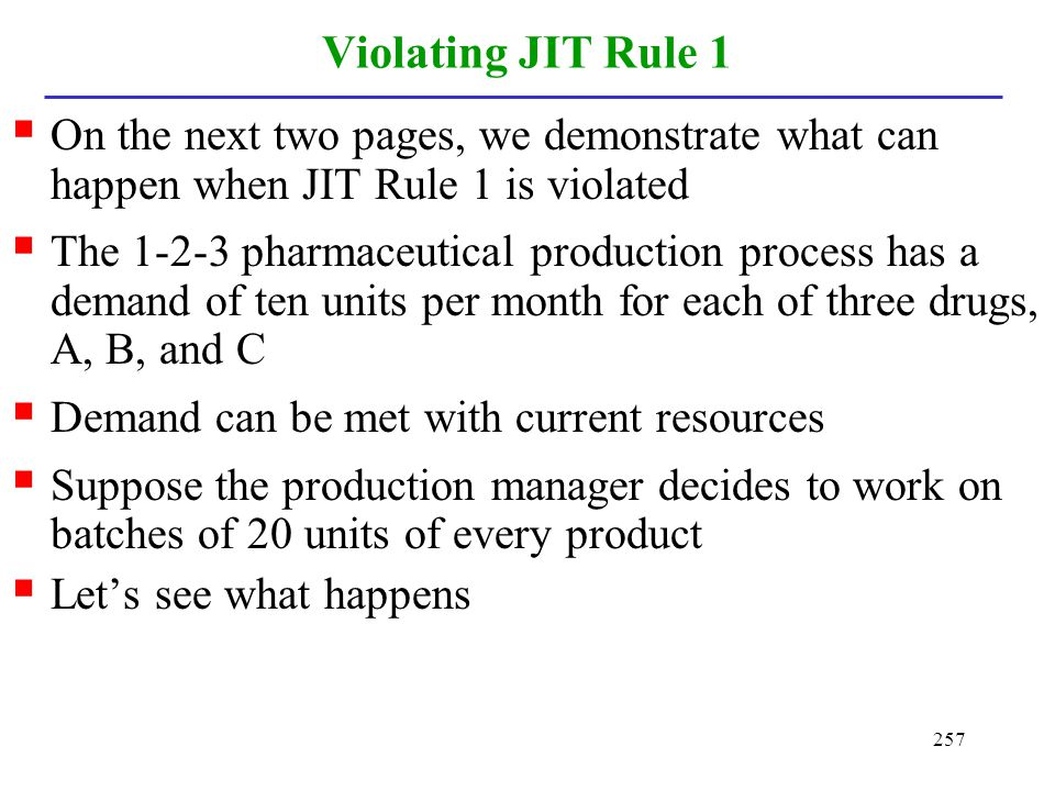 Violating JIT Rule 1 On the next two pages, we demonstrate what can happen when JIT Rule 1 is violated.
