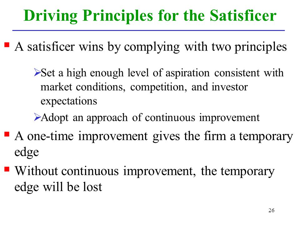 Driving Principles for the Satisficer