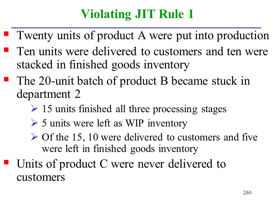 Violating JIT Rule 1 Twenty units of product A were put into production.